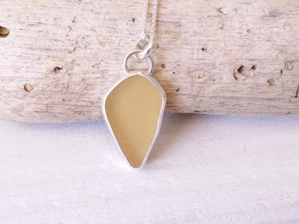 yellow seaglass necklace