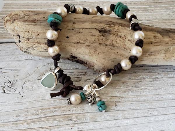 seaglass leather bracelet