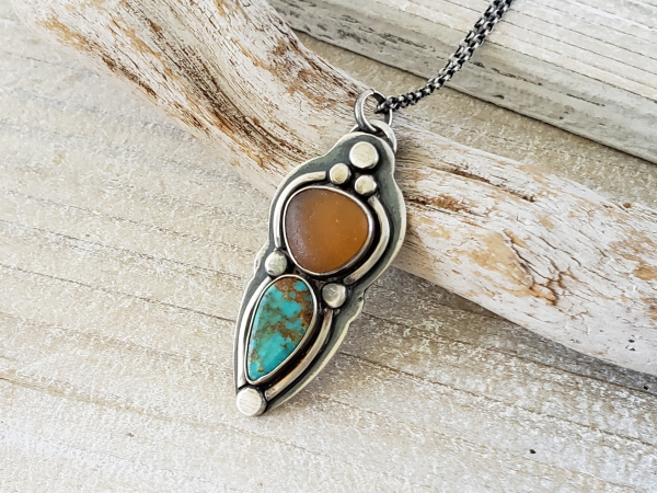 amber seaglass and turquoise necklace