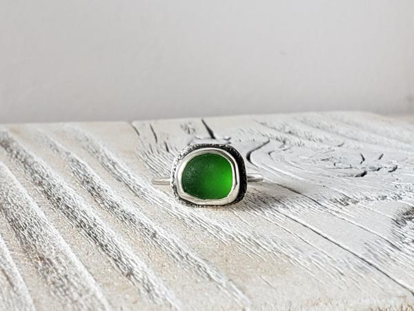 emerald green sea glass ring