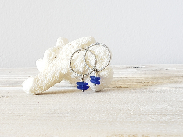 silver and seaglass earrings