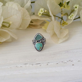Turquoise and blue seaglass ring