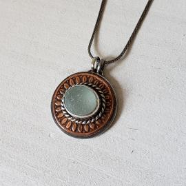 Copper,sterling silver seaglass pendant