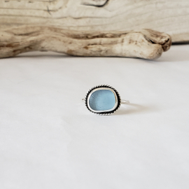 cornflower blue sea glas ring