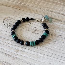 seaglass turquoise onyx boho bracelet