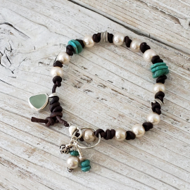 knotted leather and turquoise bracelet