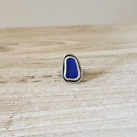 coblat blue seaglass ring