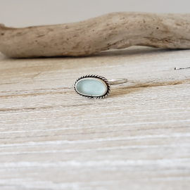 Ice blue seaglass ring
