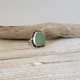 sage color sea pottery piece sterling silver ring
