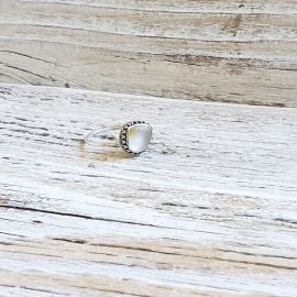 clear seaglass ring yellow accent