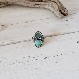 Blue seaglass and turquoise ring
