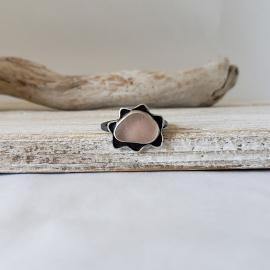 Genuine pink seaglass ring