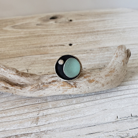 Aqua seaglass ring