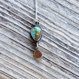 turquoise and seaglass necklace