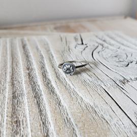 Stamped organic silver ring