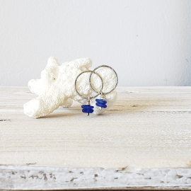 blue seaglass earrings