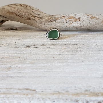 Teal Green Seaglass Ring