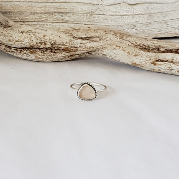 Peachy Pink Sea Glass Ring