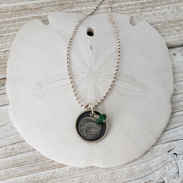 Turtle Pendant and Sea Glass Charm