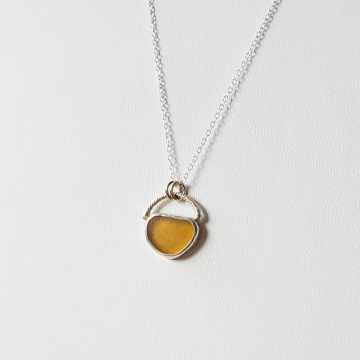 Amber seaglass necklace