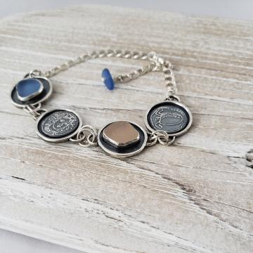 Pink & Blue Seaglass Bracelet