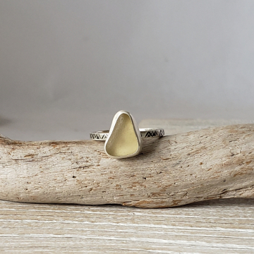 Yellow Seaglass Ring