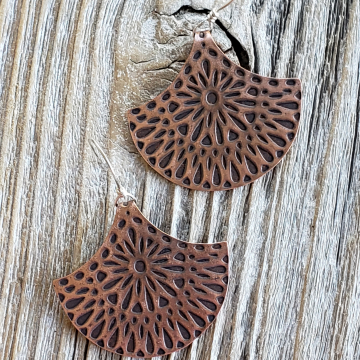 Copper Mandala Earrings